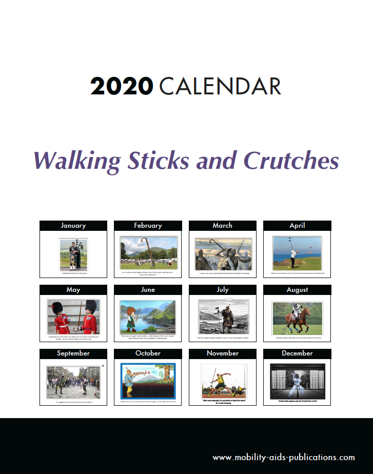 Picture of Walking Sticks and Crutches Desk Cartoon Calendar